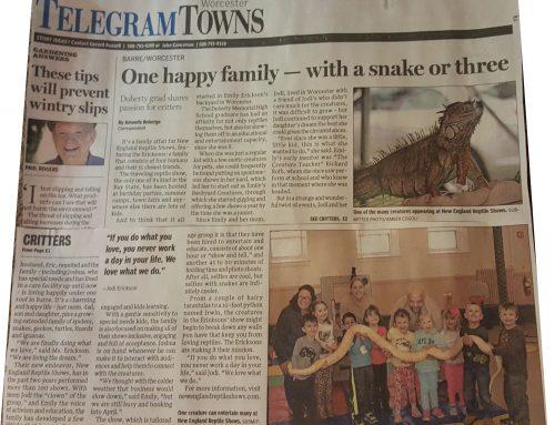 New England Reptile Shows Makes The Telegram & Gazette News
