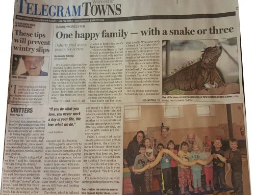New England Reptile Shows Makes The Telegram & Gazette News